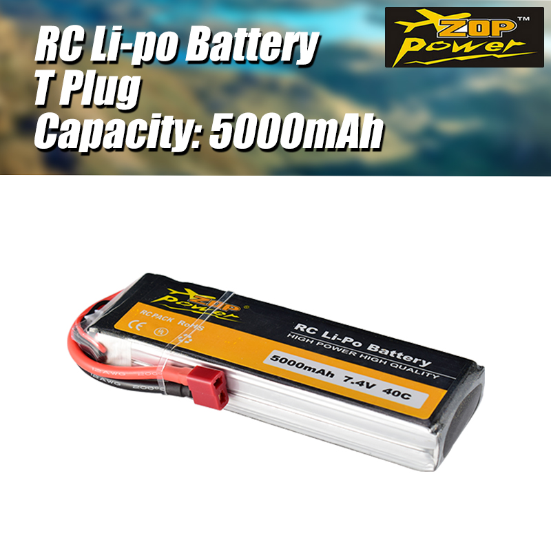 ZOP Power 7.4V <font><b>5000mAh</b></font> 40C <font><b>2S</b></font> <font><b>Lipo</b></font> Battery with T Plug Replacement Battery for RC Racing Drone Quadcopter Helicopter Car Boat image