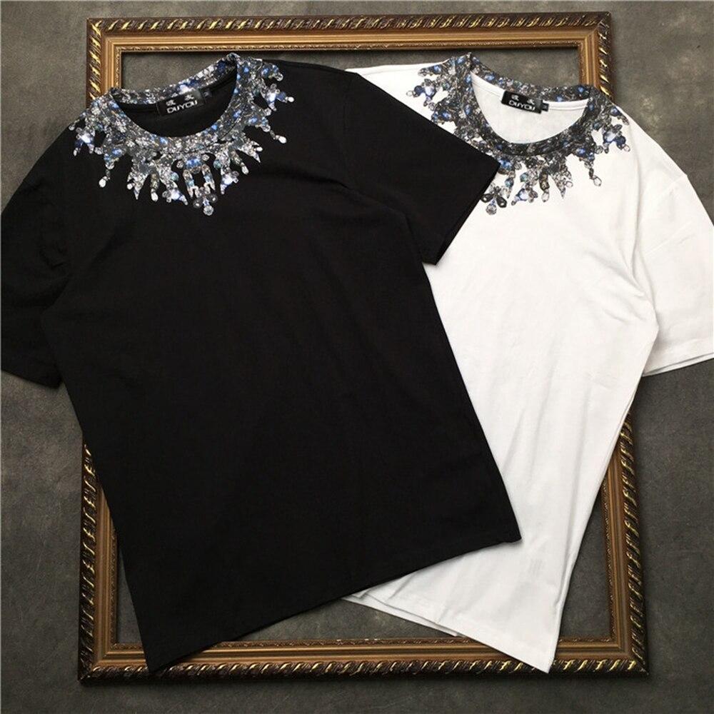 Marcelo Barrett Water Drop Necklace Print Tee Mens Short Sleeve T-shirt  Women Cotton Casual Hip Hop Highstreet T Shirt