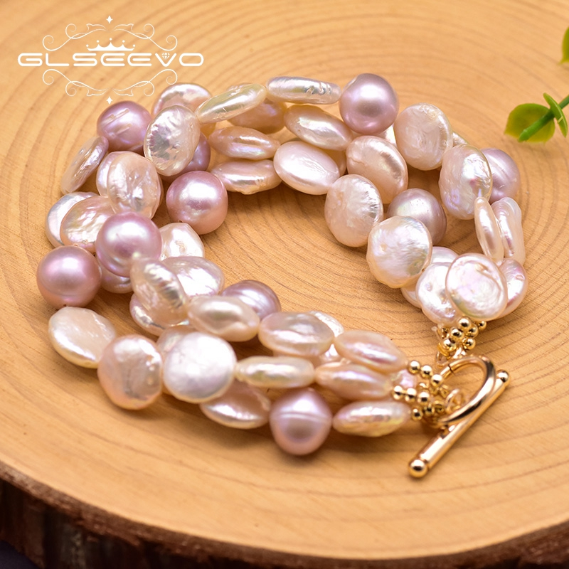 GLSEEVO Original Design Natural Fresh Water Baroque Pearl Multi-layer Bracelet For Women Girls Party Bohemia Fine Jewelry GB0194