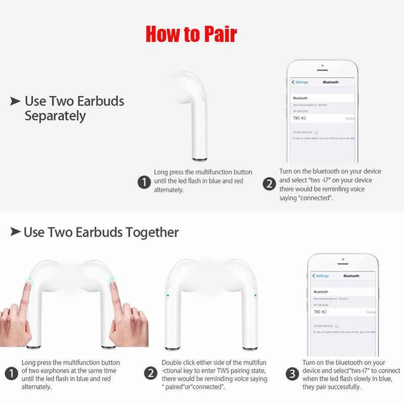 I7S TWS bezprzewodowy/a słuchawki słuchawka Bluetooth prawda bezprzewodowe słuchawki douszne sportowe bezobsługowy zestaw słuchawkowy z mikrofonem dla iPhone xiaomi