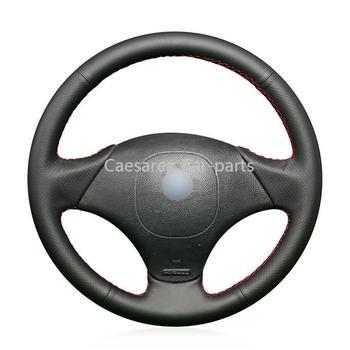 Чехол рулевого колеса для Fiat Albea 2002, ручная работа, черная искусственная кожа