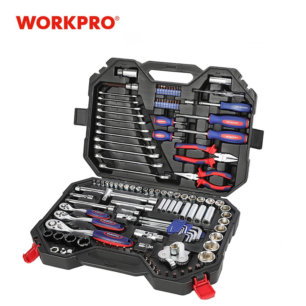 WORKPRO 123PC Car Repair <font><b>Tool</b></font> Set for Auto <font><b>Tool</b></font> Set <font><b>Mechanic</b></font> <font><b>Tool</b></font> Kits Ratchet Spanner Wrench Socket Set 2019 New Design image