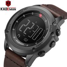 K698 KADEMAN ספורט גברים של שעון צעדים דלפק עור יוקרה למעלה מותג LED Mens צבאי שעוני יד Relogio דיגיטלי עמיד למים