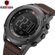 K698 kademan esportes relógio masculino passos contador couro superior marca de luxo led masculino militar relógios pulso relogio digital à prova dwaterproof água
