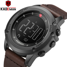 KADEMAN Sports Men's Watch Steps Counter Leather Top Luxury Brand LED Mens Milit