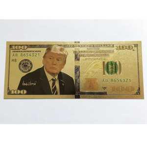 Президент США Дональд Трамп Позолоченные долларов купюры закладки Новинка банкнота|Золотые банкноты|   |