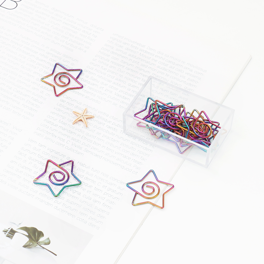 TUTU 10Pcs/lot Rainbow Star Clips Bookmark Planner Tools Scrapbooking Tools Memo Clip Metal Binder Paper Clip H0381