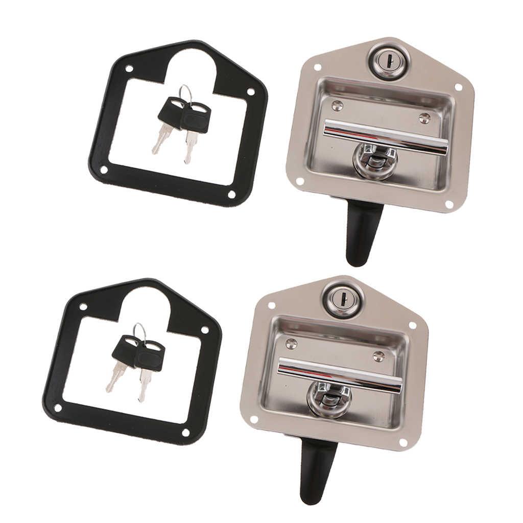Cerradura en forma de T para remolque caja de herramientas para cerradura de manija plegable en forma de T de acero inoxidable Juego de llaves para remolque de cami/ón
