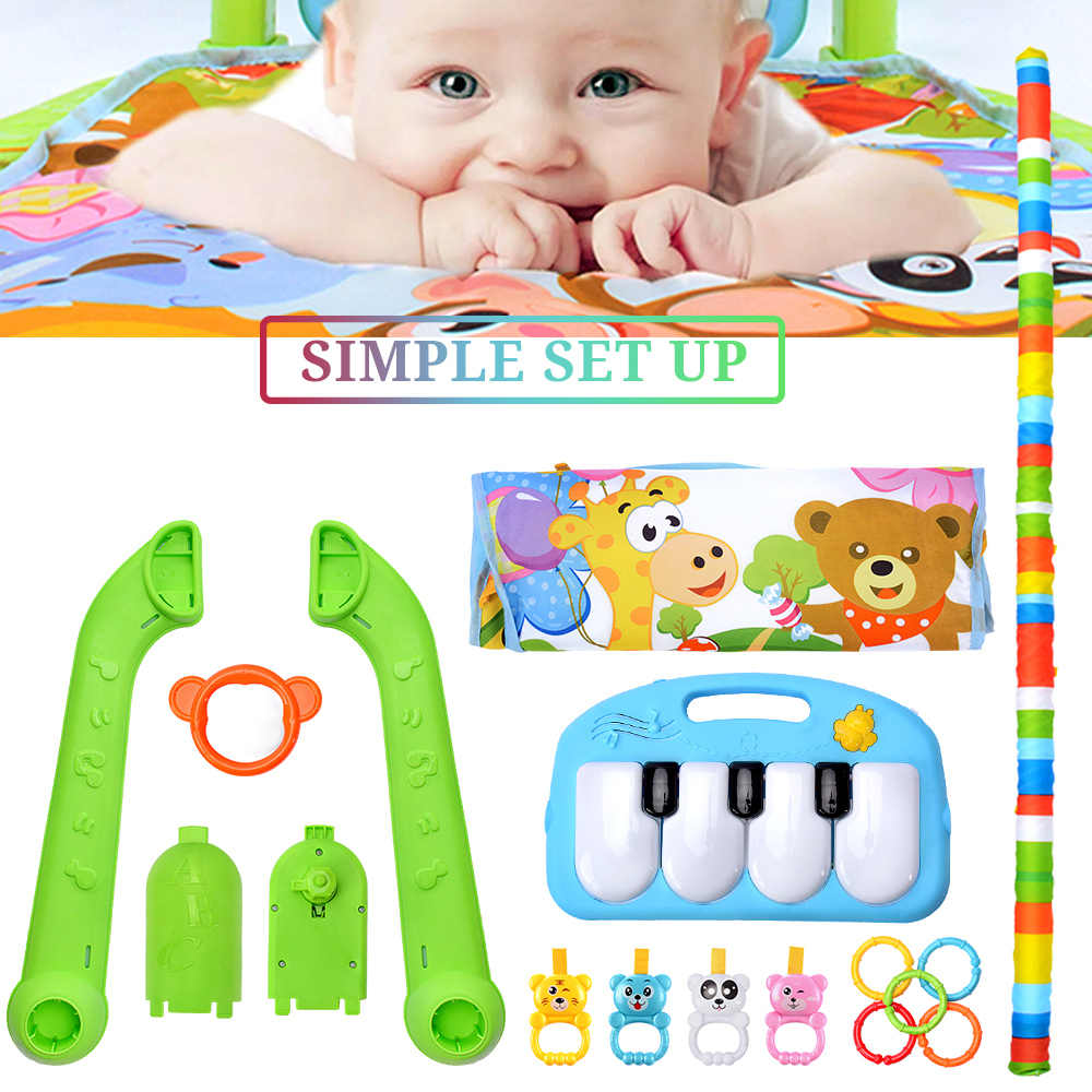 Children Fitness Rack Baby Gym Play Mat Infant Toys Piano Keyboard Music Blanket Intellectual Development Early Education Rug