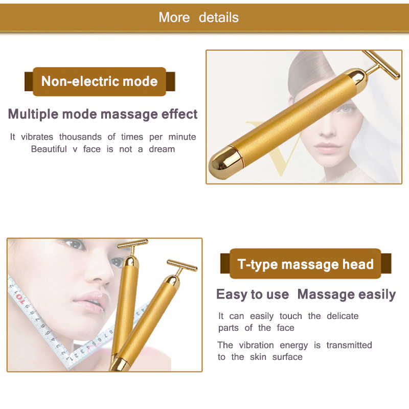 الطاقة 24K الذهب T سبيكة الجمال بكرة تدليك الوجه نبض ثبات مدلك مكافحة الشيخوخة الوجه التجاعيد العلاج التخسيس التجاعيد عصا