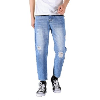 2020 New Men Harem Denim Pants Straight destroyed Hole Man Slim Ripped Jeans Mens Causal Fashion Comfortable Trousers