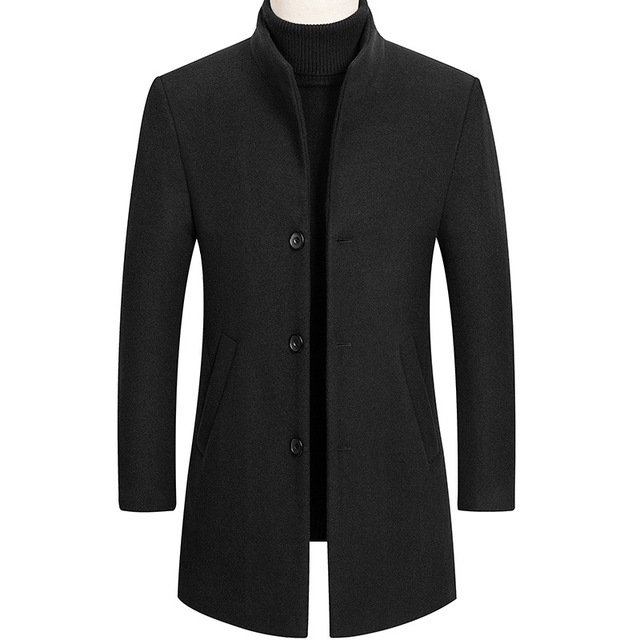 Thoshine Brand Autumn Winter 30% Wool Men Thick Coats Stand Collar Male Fashion Wool Blend Jackets Outerwear Smart Casual Trench 2
