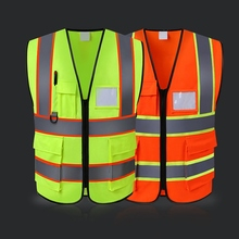 Practical Multi Pocket Night Cycling Running Safety Vest Construction Security High Visibility Reflective Vest Outdoor Protector цена
