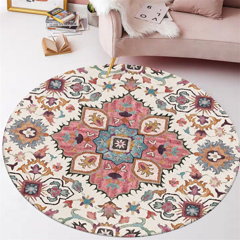 Area Rug For Living Room Ethnic Style Flower Pattern Round Carpet Rugs For Children Rooms Christmas Rug Mechanical Wash
