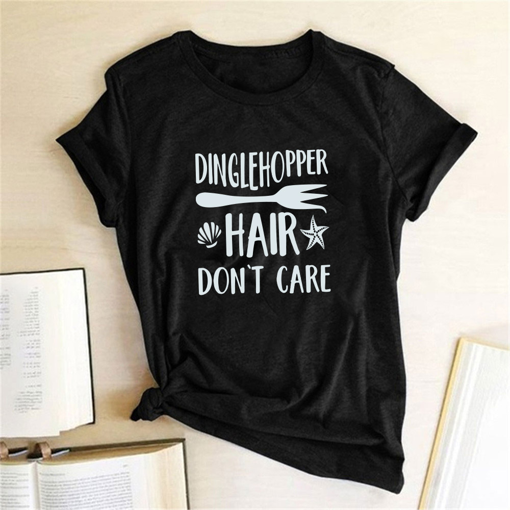 Dinglehopper Hair Dont Care T-Shirt The Little Mermaid Ariel Tshirt Short Sleeve Graphic Tees Tops Womens 2020 Magliette Donna