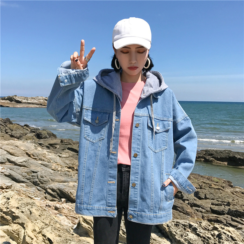 2020 Spring And Autumn New Style Korean-style Jeans Coat Student Versatile Slimming Loose Casual Hooded Tops
