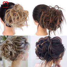 MANWEI for women Messy Scrunchie chignon hair bun Straight elastic band updo hairpiece synthetic extension