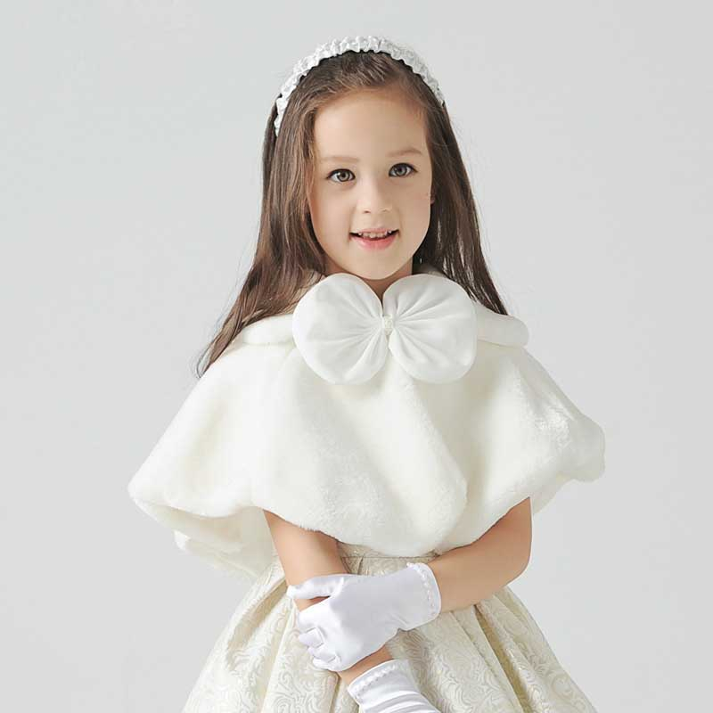 Bow-knot Wedding Cloak For Communion Dress Ivory Kids Girl Faux Fur Cape Flower Girl Fur Bolero Cape Winter Jacket Coat