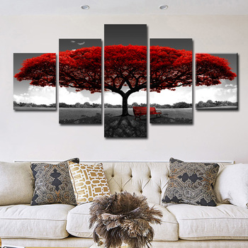 цена на 5 Panels Abstract Red Tree Oil Paintings Print On Canvas Posters And Prints Landscape Wall Art Pictures Home Wall Decor No Frame
