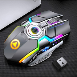 Bezprzewodowa mysz 1600dpi akumulator wyciszenie mysz do gier RGB oddychać podświetlenie mysz optyczna galwanicznie laptop mysz