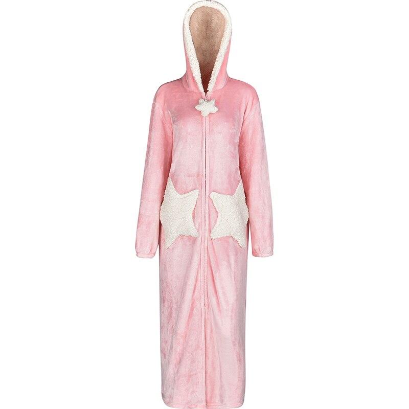 Image 3 - Women Winter Star Moon Plus Size Long Warm Flannel Bathrobe Pregnant Zipper Bath Robe Hooded Night Dressing Gown Men Sleepwear-in Robes from Underwear & Sleepwears on AliExpress