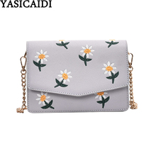 YASICAIDI Embroidery Chain Shoulder Bag Floral Pattern PU Leather Flap Pocket Messenger Bag Small Crossbody Bags For Women 2020 cheap Satchels Shoulder Bags Shoulder Crossbody Bags Zipper Hasp Soft Fashion YYBXCY3716 Polyester Versatile Single Cell Phone Pocket