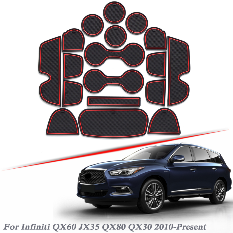 18pcs Car Styling Gate slot pad For <font><b>Infiniti</b></font> <font><b>QX60</b></font> <font><b>JX35</b></font> QX80 QX30 2010-2020 Silica Gel Door Groove Mat interior Non-slip dust Mat image