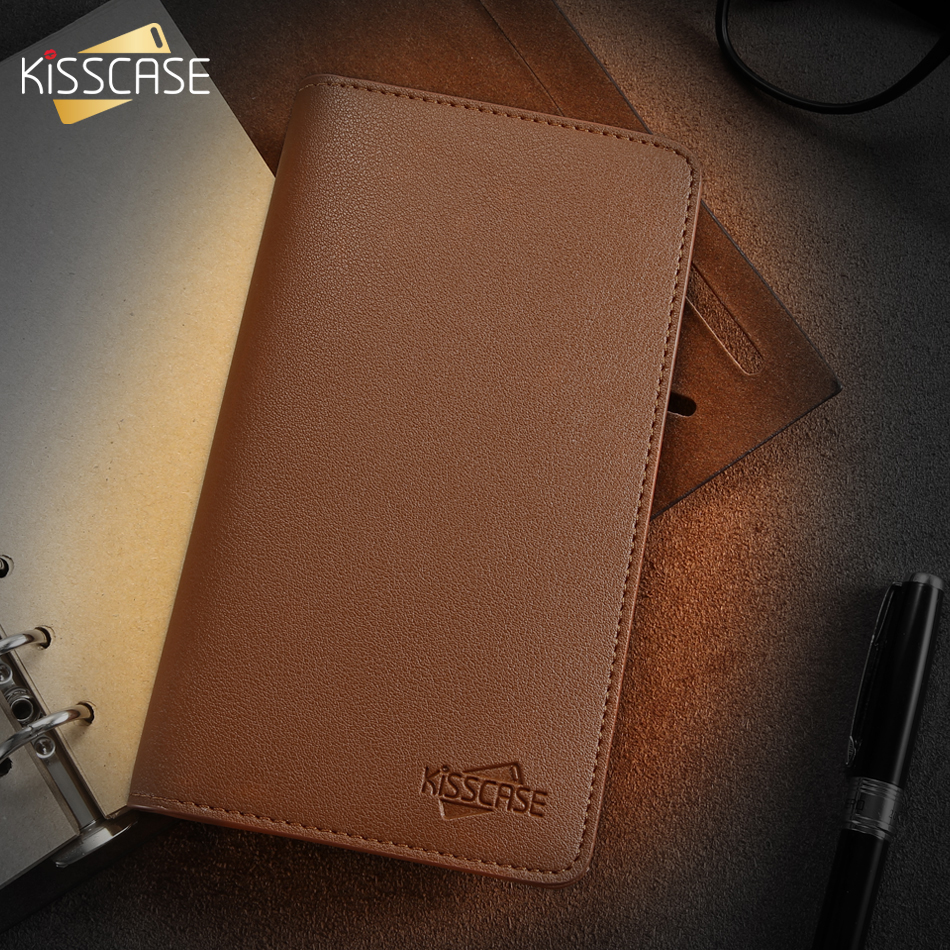 KISSCASE Luxury Durable Leather Wallet Pouch Phone Case For iPhone Samsung Huawei Xiaomi Meizu Cover Mobile Phone Bag Cases-in Phone Pouches from Cellphones & Telecommunications