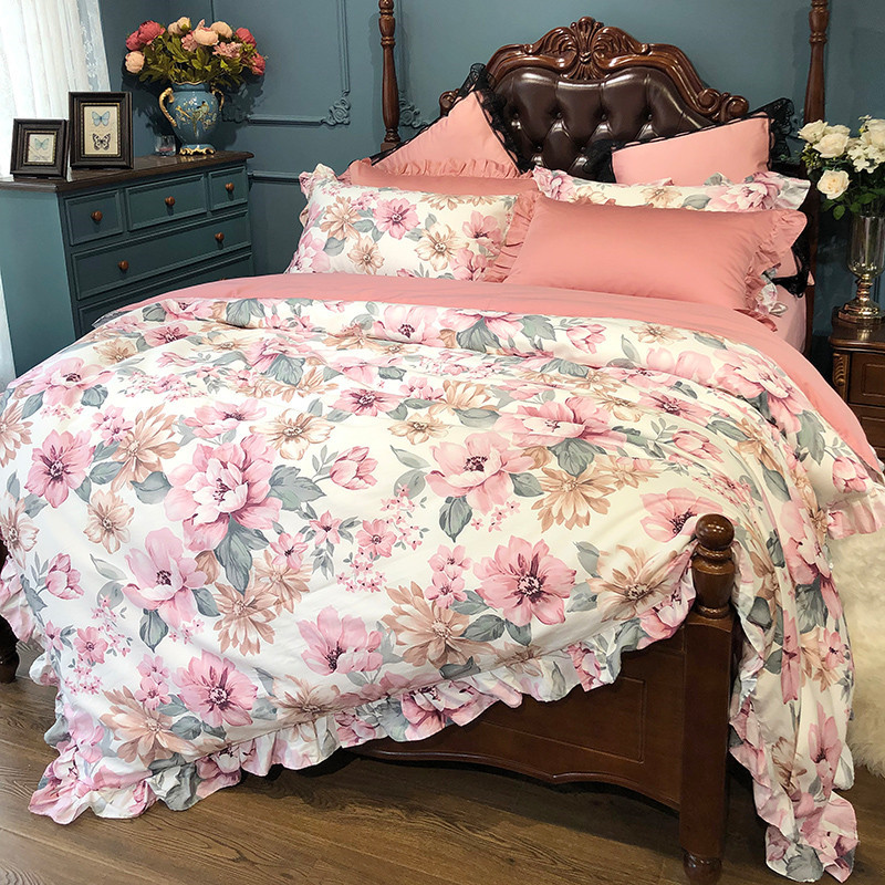 Blossom Floral Duvet Cover Set Premium Soft Silky Easy Wash Egyptian Cotton Bedding Set Bed Sheet Pillowcase Queen King Size 4Pc