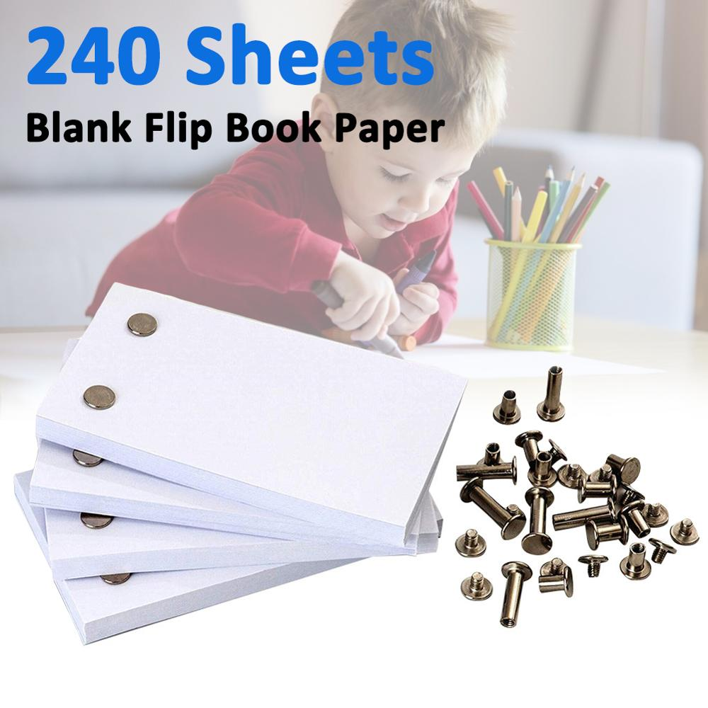 240 Sheets Blank Flip Book Paper With Holes Flipbook Animation Paper Early Educational Kids Gift School Supplies Children New