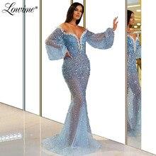 Женское вечернее платье русалка, голубое платье с открытыми плечами, расшитое бисером, с блестками, в арабском стиле, для выпускного вечера, 2020