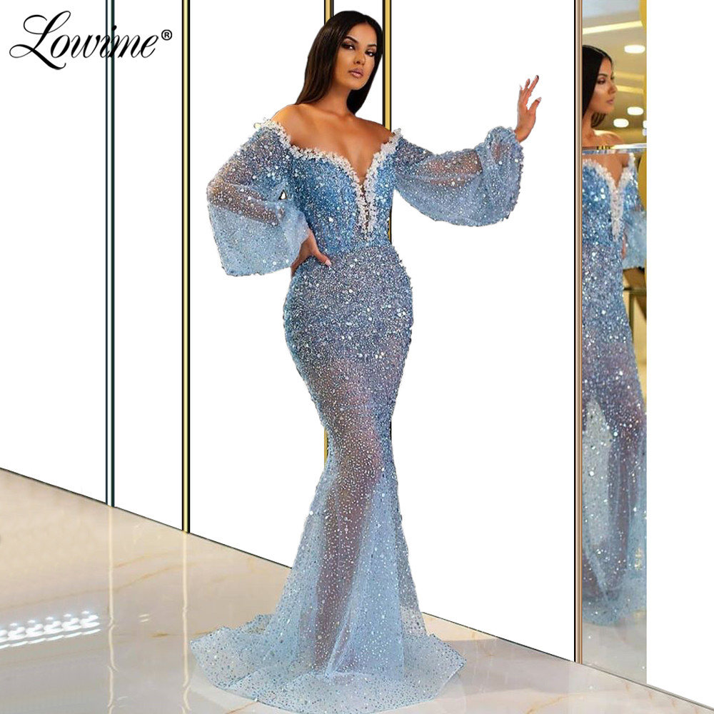 Blue Beaded Off Shoulder Evening Dresses 2020 Robe De Soiree Custom Sequins Mermaid Party Gowns Arabic Dubai Kaftans Prom Dress