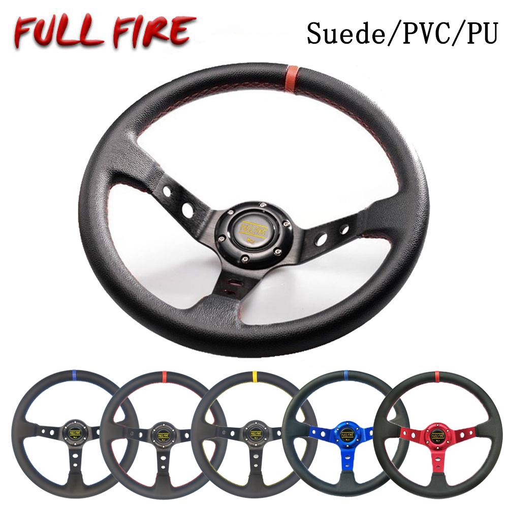 Universal 350MM   Leather   Steering Wheel   Suede   Steering Wheel Drift racing type High quality PU/  Suede  /PVC Style