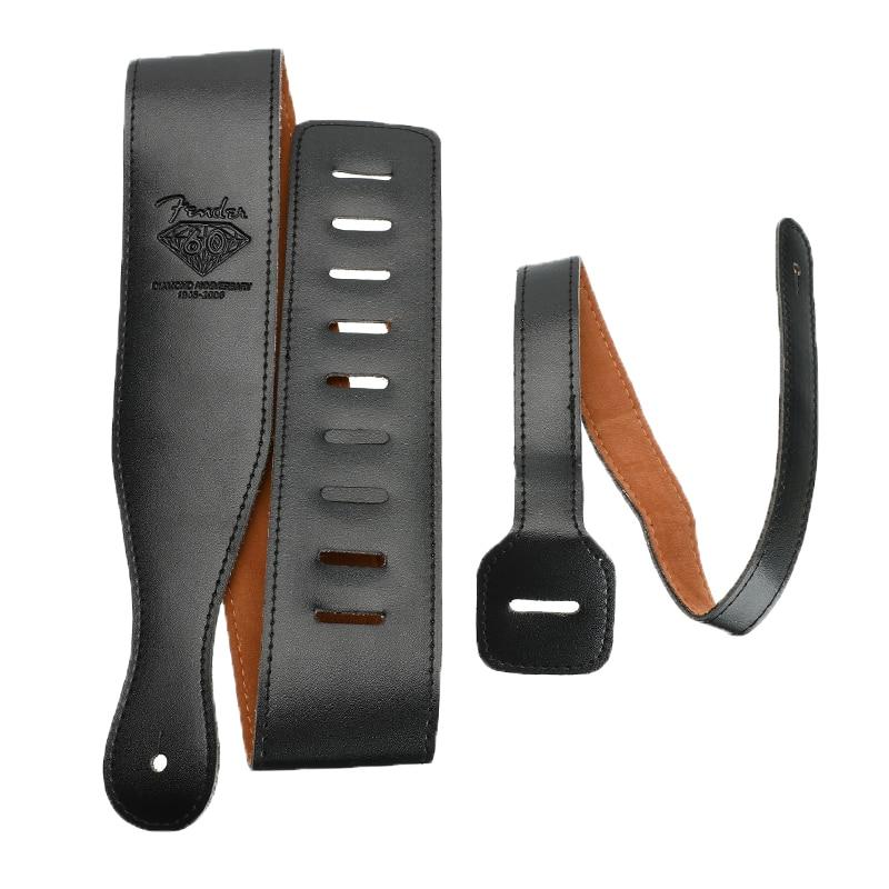 Black Leather Guitar Strap Guitar Shoulder Strap For Electric Guitar Bass Adjustable Belt