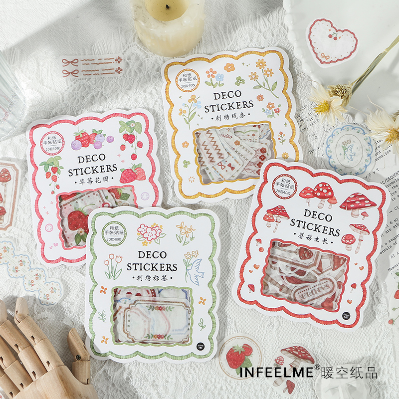 40 Pcs/bag Strawberry Garden Series Journal Decorative Stickers Scrapbooking Stick Label Diary Stationery Album Forest Stickers