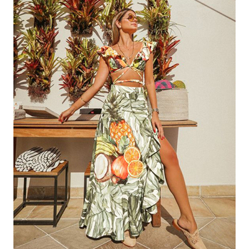 2021 Backless Tunic Beach Dress Bikini Long Dress Print Swimwear Women Cover Up Swimsuit Beachwear Pareo Saida de Praia 1