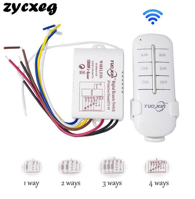 ワイヤレスリモート制御光スイッチon off RF433 1/2/3/4方法220 220vデジタルリモートコントロールスイッチライト/ランプ電球