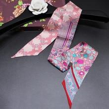 Bandana feminina pequena fita multi função moda senhora 100% seda riband lenços bolsa cachecol roupas femininas combinar bandeaus