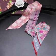 Headband Women Small Ribbon Multi function Fashion Lady 100% Silk Riband Scarves Handbag Scarf  Female Clothing Match Bandeaus