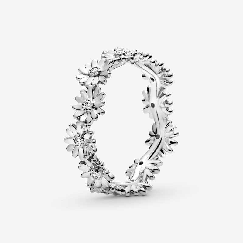CODEDOG 100% Real Sterling Silver 2020 Spring Flower Lucky Rings Silver Daisy Flower Ring For Women Making Jewelry CMR095