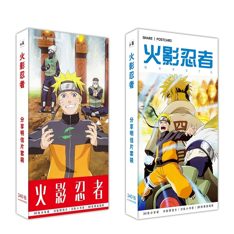 340 Pcs/Set Japanese Anime Naruto Postcard DIY Cartoon Greeting Cards Message Card Fans Gift