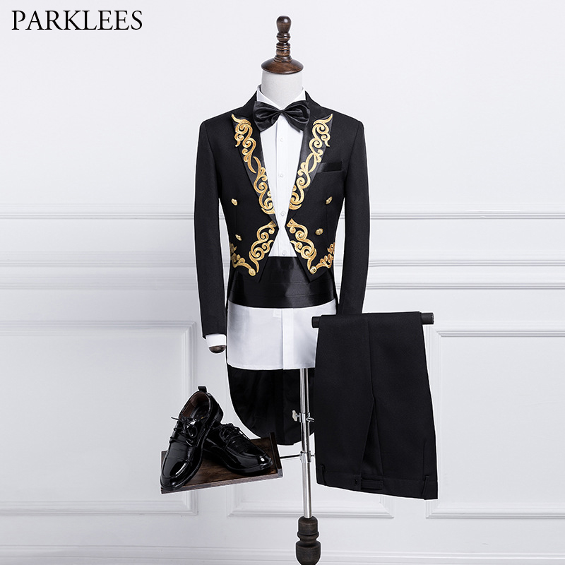 Suit Mens Stage Prom 2 Costume White Suits Piece Pants Tuxedo Men Tailcoat Embroidered Grooms Suits Men Wedding Set with Singers
