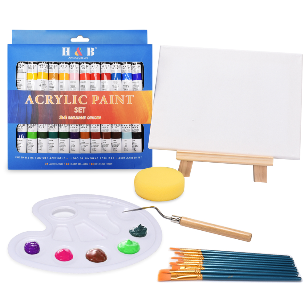 24 Colors 12ML Acrylic Paint Set Rich Pigments Tube Paints With Wood Easel Painting Canvas Art Supplies Gift For Kids Beginners