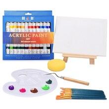 24 kolory 12ML zestaw farb akrylowych bogate pigmenty farby tubowe z drewna sztalugi malarstwo na płótnie dostaw sztuki prezent dla dzieci początkujących