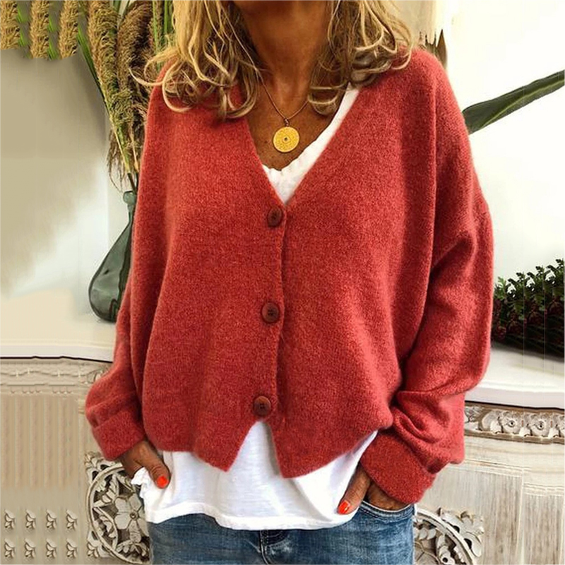 Autumn And Winter Fashion Casual Loose Solid Color Button Cardigan Top Knitted Cardigan Women