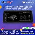 Автомобильный мультимедийный dvd-проигрыватель, экран 12,3 дюйма, Android 10, для BMW 5 серии E60 E61 E63 E64 /3 серии E90 E91 E92 2004-2011