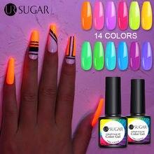 Ur Suiker 2/4/6Pcs Fluorescent Neon Gel Nagellak Set Glow In Dark Gel Lakken Soak off Uv Led Hybrid Gel Vernis Manicure