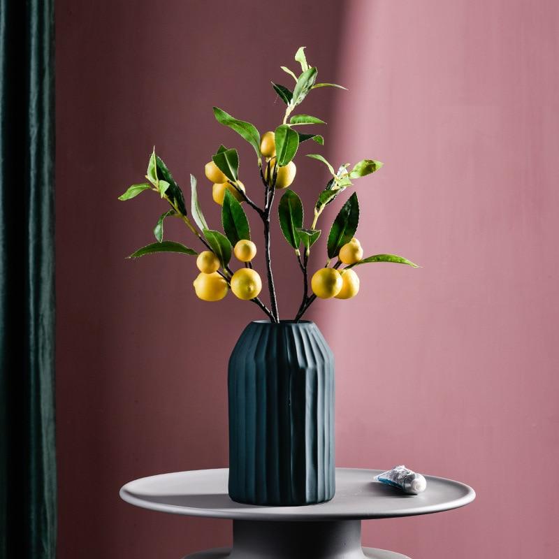 Single Simulated Artificial Fruit Artificial Leaves Lemon Fruit False Branch Green Plant Factory Direct Yellow Berry Plante en