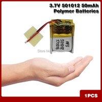 3,7 V 50mah 501012 recargable Li-polímero batería de iones para MP3 MP4 auriculares bluetooth juguetes con GPS lápiz de lectura altavoz smart watch