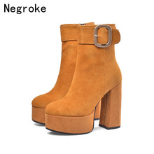 2019 Fashion Cow Suede Women Boots Sexy High Heels Leather Platform Shoes Woman Party Wedding Ankle Boot Plus Size Booties Mujer
